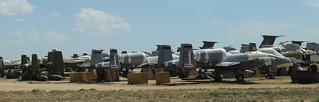 A-10 Thunderbolts parked at Davis-Monthan Air Force Base AMARG