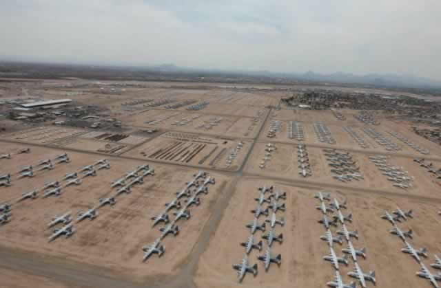 Aerial view of aircraft in storage at Davis-Monthan Air Force Base AMARG circa 2011