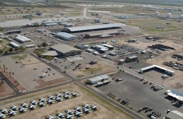 Aerial view of work areas at Davis-Monthan Air Force Base AMARG