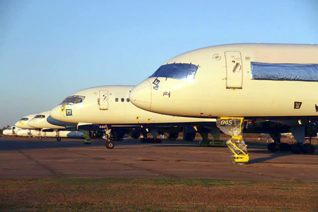 Airliners in storage at the Arkansas International Airport in Blytheville