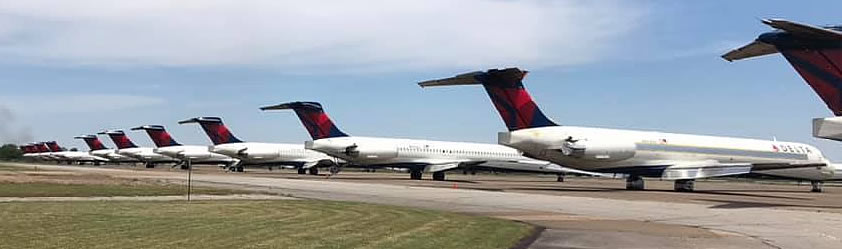 Delta Air Lines jets in storage at the Arkansas International Airport in Blytheville