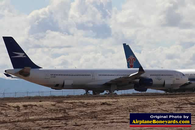 Airbus A340-300 of Aerolineas Argentinas, registration LV-BIT, in desert storage at the Phoenix Goodyear Airport