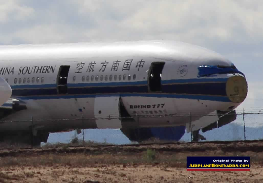 China Southern Airlines Boeing 777 being scrapped at the Phoenix Goodyear Airport
