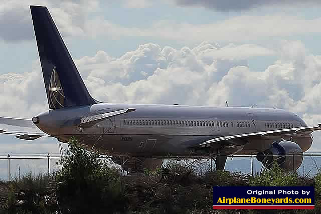 Boeing 757 in Continental Airlines livery in storage at the Phoenix Goodyear Airport in Arizona