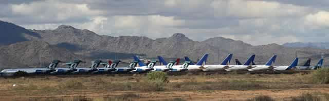Panoramic view of jetliners in storage at the Phoenix Goodyear Airport