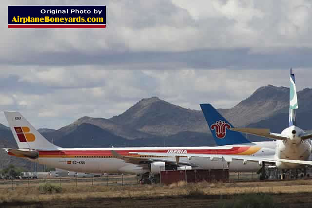 Airbus A340-300, registration EC-KOU, in Iberia Airline livery in storage at the Phoenix Goodyear Airport
