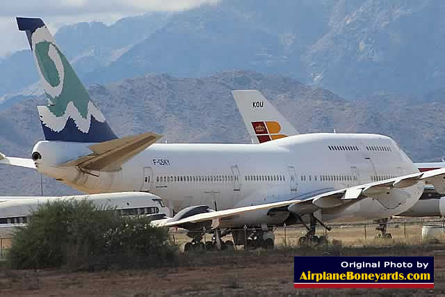 Boeing 747-312, registration F-GSKY, of Corsair Airlines parked at the Phoenix Goodyear Airport