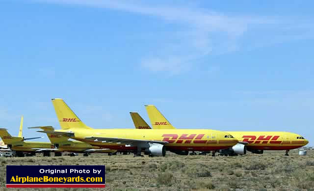 DHL jet freighters in storage at the Kingman Airport in May 2013