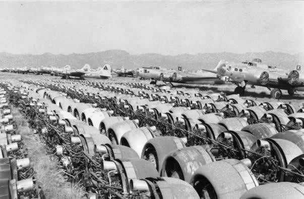 Rows Of Aircraft Engines Removed From Surplus Ers At The Kingman Boneyard