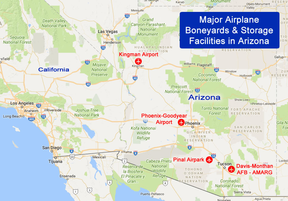 Map of major airplane boneyards and storage facilities in Arizona