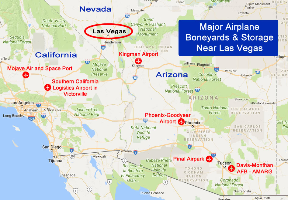 Airplane boneyards near Las Vegas, Nevada, locations, maps, directions