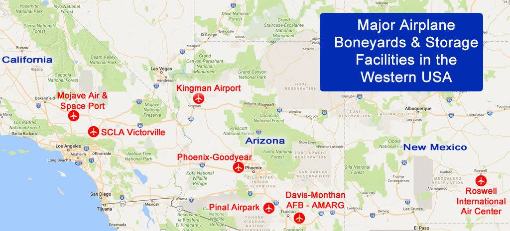List and map of airplane boneyards in the United States and