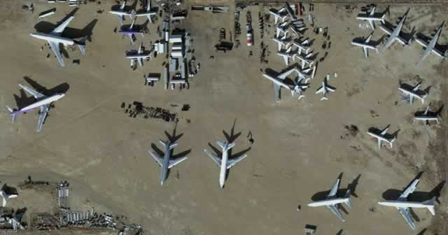 Close-up, aerial view of airliners at the Mojave Airport boneyard in California