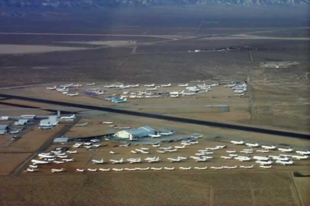 Aerial view of the air field with airliners in storage (Photo courtesy of the Mojave Transportation Museum)