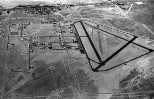 Aerial view of the Mojave air field in 1943