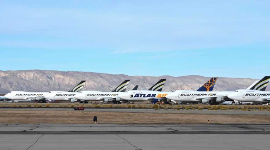 Boeing 747 airliners in storage at Mojave Airport in the California desert