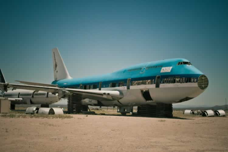 Boeing 747 being reclaimed at the Mojave Airport boneyard in California