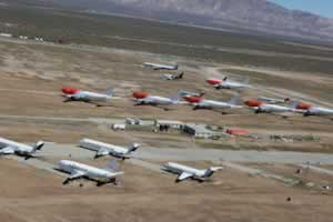 Airliner storage area at the Mojave Airport in the California desert