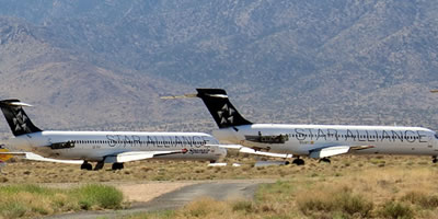 Airplane boneyards near Las Vegas, Nevada, locations, maps