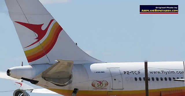 Surinam Airways Airbus A340-300, registration PZ-TCP, at the Pinal Airpark in Arizona