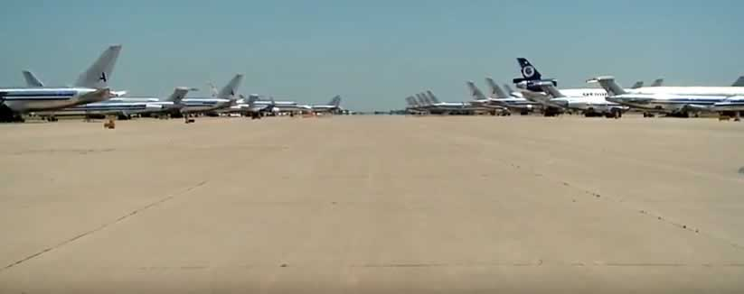 Airliners lined up on the tarmac at the Roswell International Air Center
