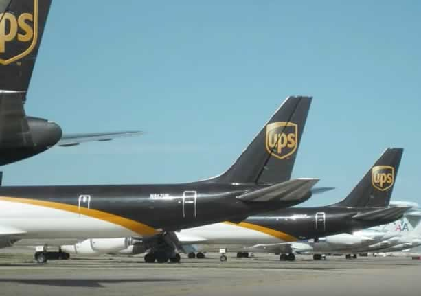 UPS cargo jets in storage at the Roswell International Air Center