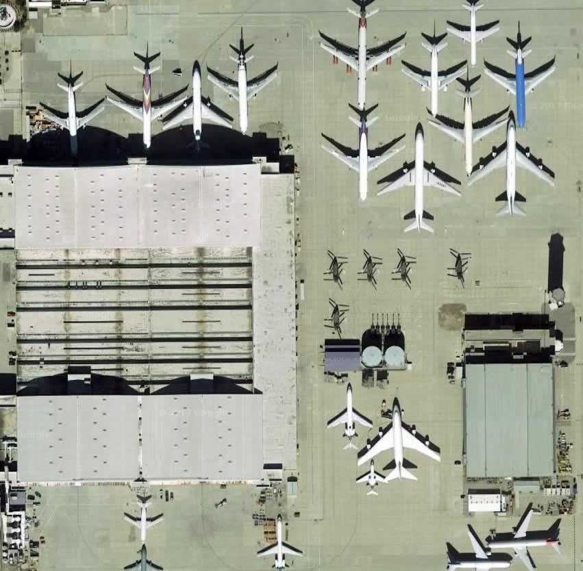Aerial view of the UNICAL airliner maintenance facilities at the San Bernardino International Airport