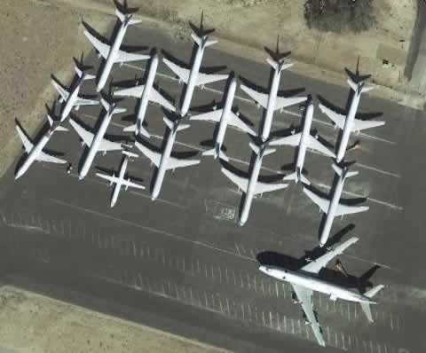 Aerial view of airliners in storage at the San Bernardino International Airport in California