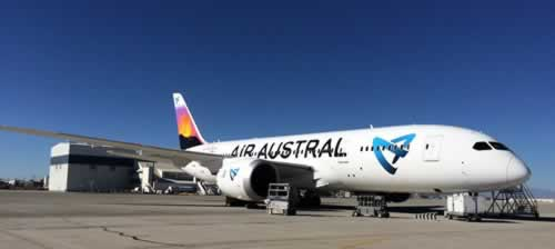 Boeing 787 of Air Austral out of the Leading Edge paint hangar at SCLA