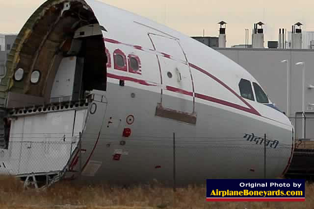 The nose section of an Airbus airliner at a scrapping yard near the Southern California Logistics Airport