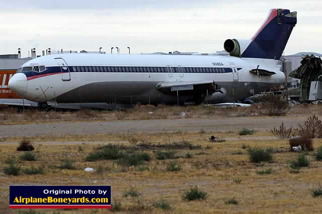 Ex-Delta Airlines Boeing 727 N518DA at a scrapping yard near the Southern California Logistics Airport