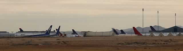 Panoramic view of jetliners in storage at the Southern California Logistics Airport in Victorville