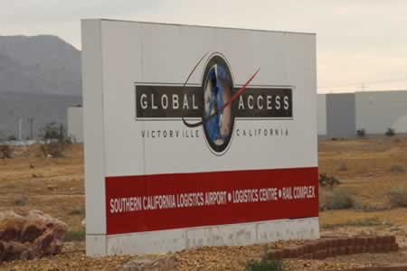 Sign at the entrance to the Southern California Logistics Airport in Victorville, CA