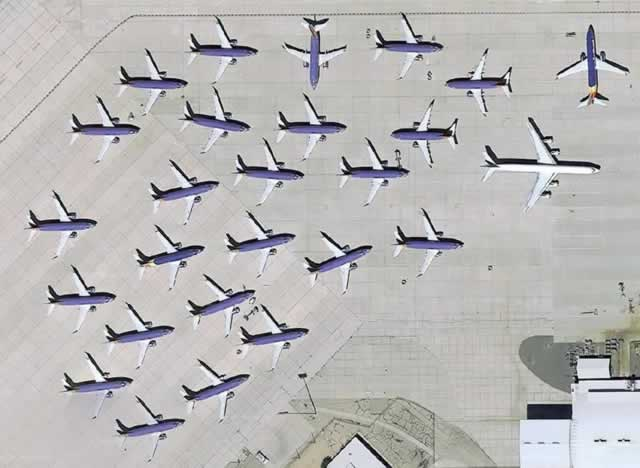 Aerial view of Southwest Airlines Boeing 737 MAX-8 fleet in temporary storage at the Southern California Logistics Airport in Victorville