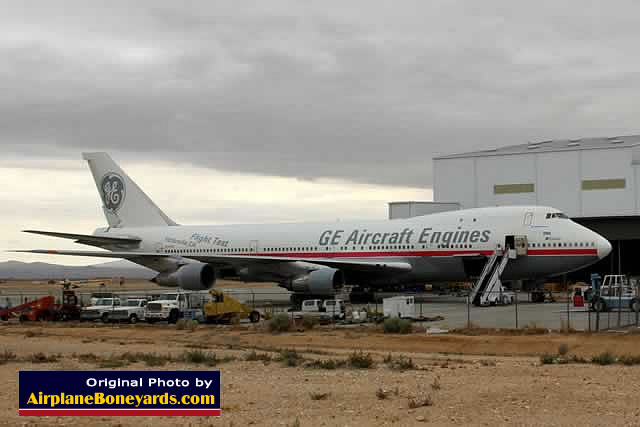 Boeing 747 of GE Aircraft Engines, registration number N747GE, at the Southern California Logistics Airport