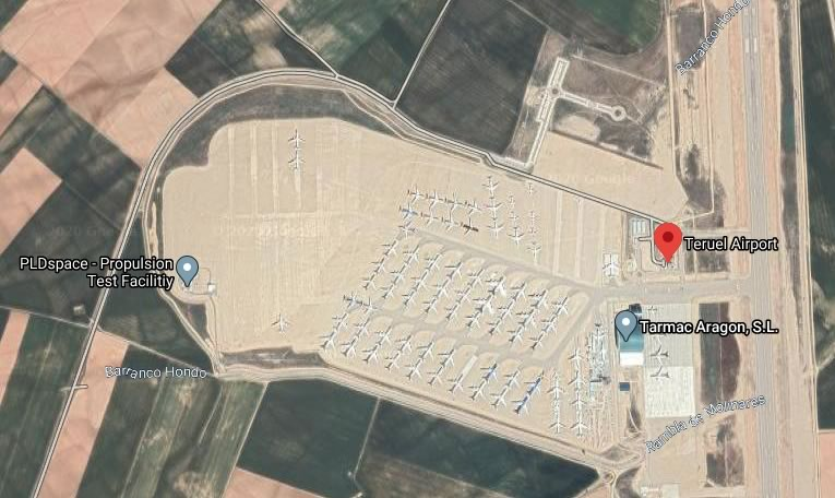 Aerial view of airplane storage area at the Teruel Airport in Spain