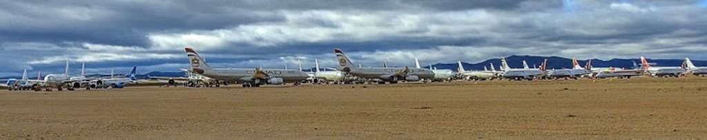 Panoramic view of airliners in storage at the Teruel Airport in Spain