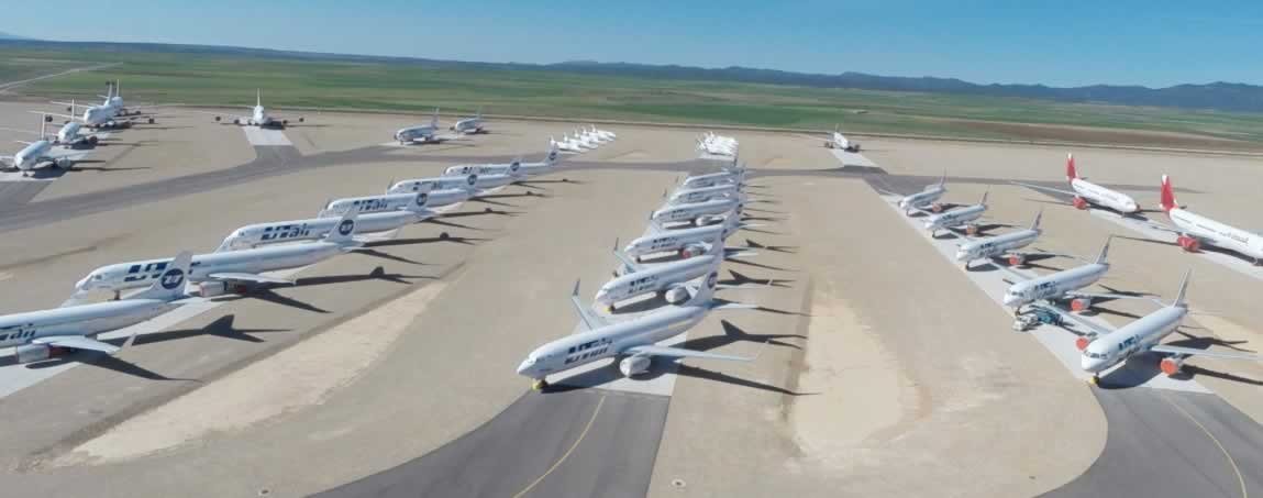View of airliners in storage at the Tarmac Aerosave facility at the Teruel Airport in Spain