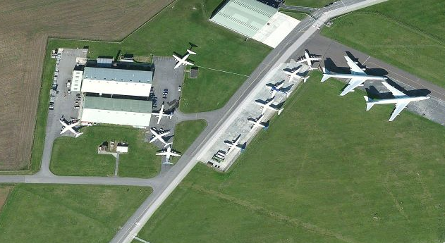 Aerial view of Cotswold Airport in the United Kingdom, location of Air Salvage International