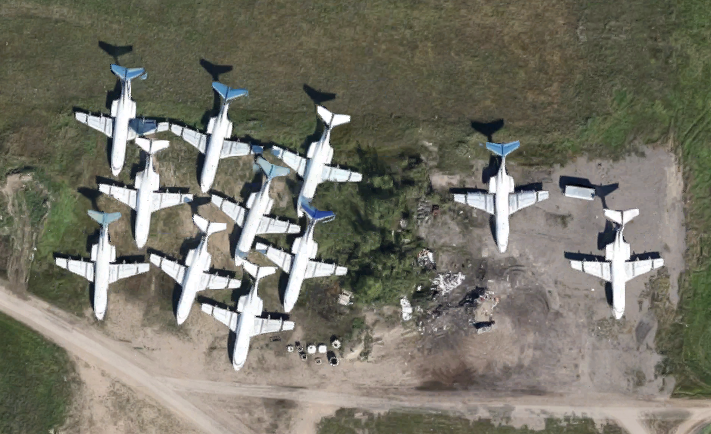 Aerial view of airliner storage at Saskatoon John G. Diefenbaker International Airport in Saskatchewan