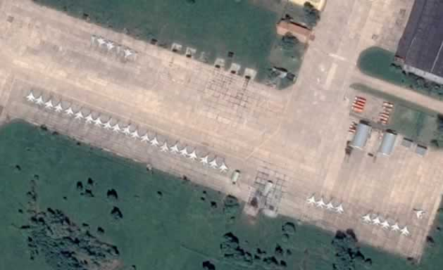 Aerial view of airplane storage area near Lukhovitsy, Russia